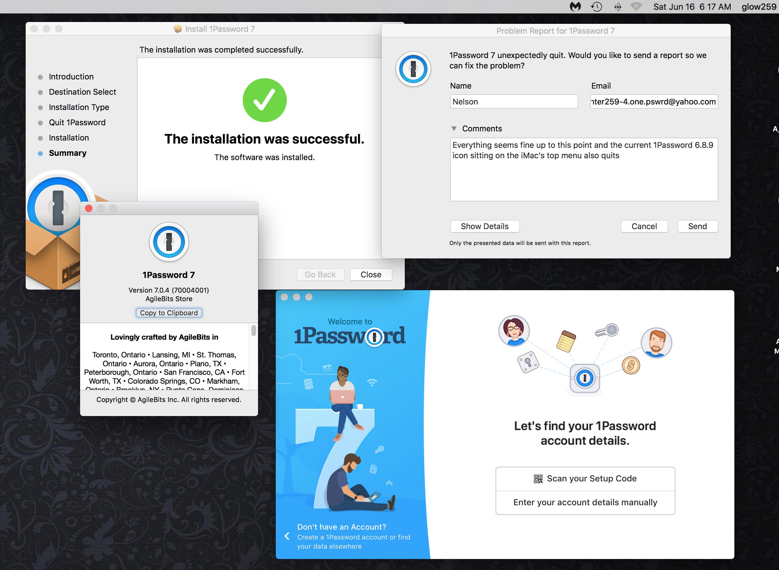 Problem with 1Password auto-login on my iMac High Sierra