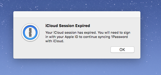 Icloud session expired keeps asking me to sign in again  — 1Password