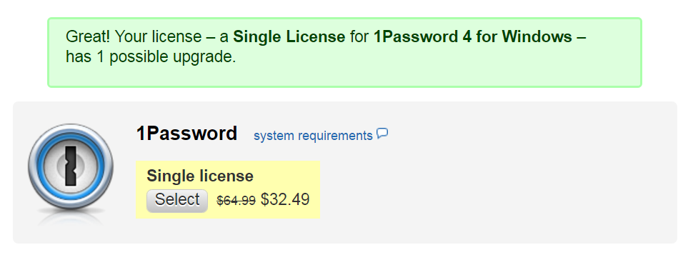 1password licence key free