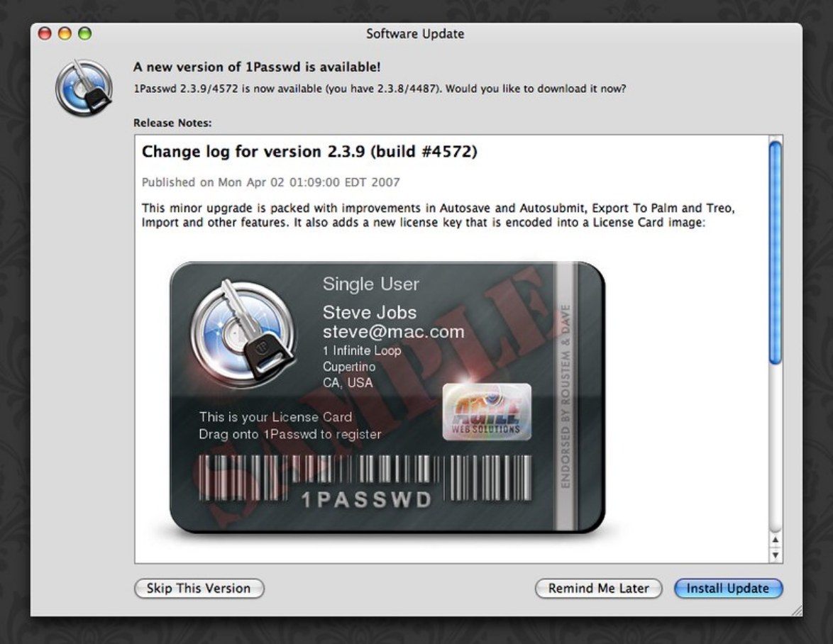 1Password version 2 update window showing our graphical license card design. A big thank you to @chrismessina for taking this screenshot 14 years ago and making sure Google was able to index it.