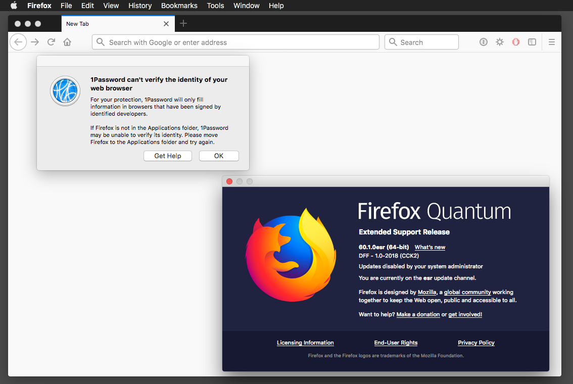 Firefox ESR 60 1 0 released today   1Password no worky