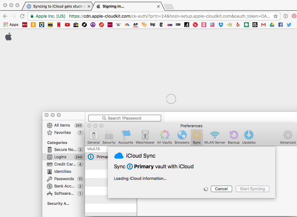 Syncing to iCloud gets stuck on