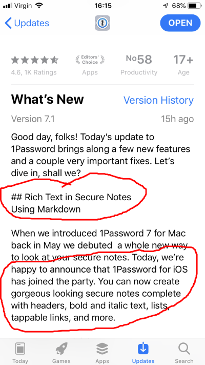 How to use rich text in Secure Notes in 1Password for iOS