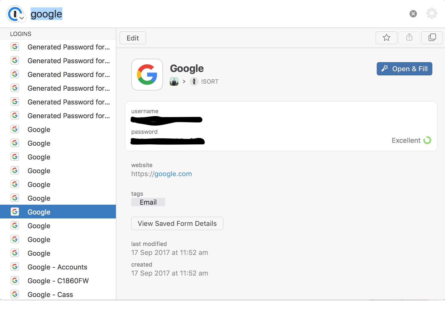 New version no longer displays the username in list — 1Password Forum