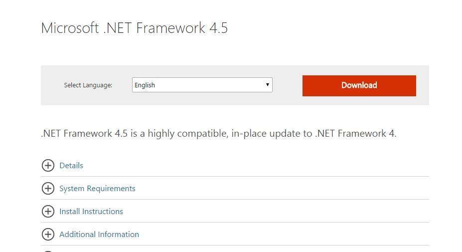 download net framework 4 5