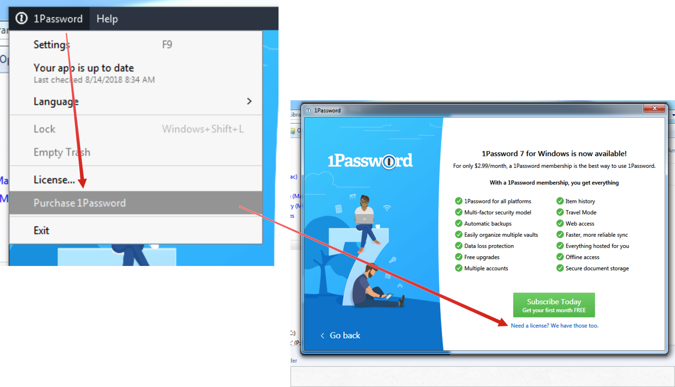 1password license windows