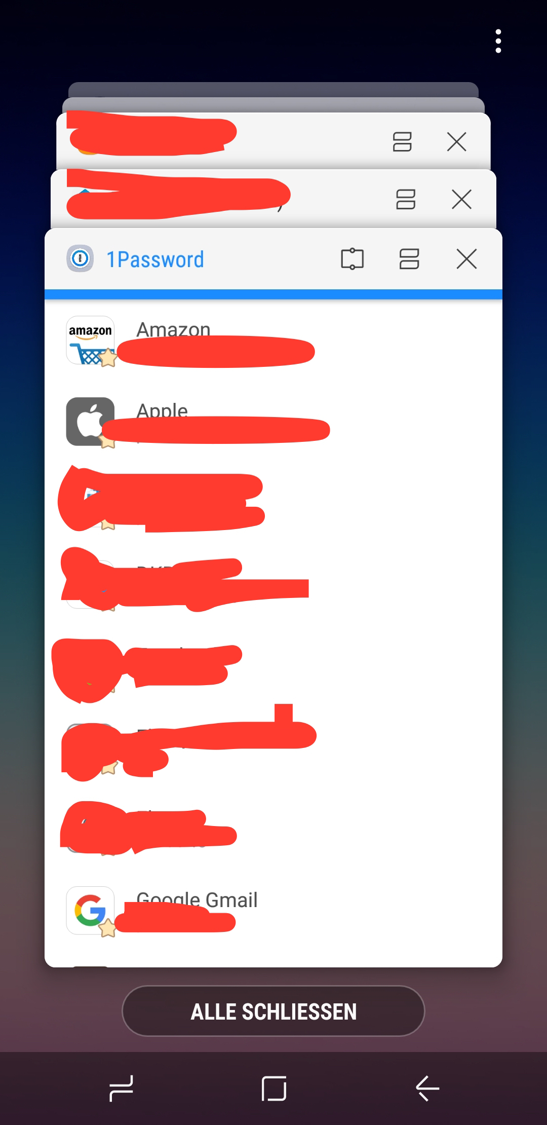 Samsung phone does show details in app switcher — 1Password