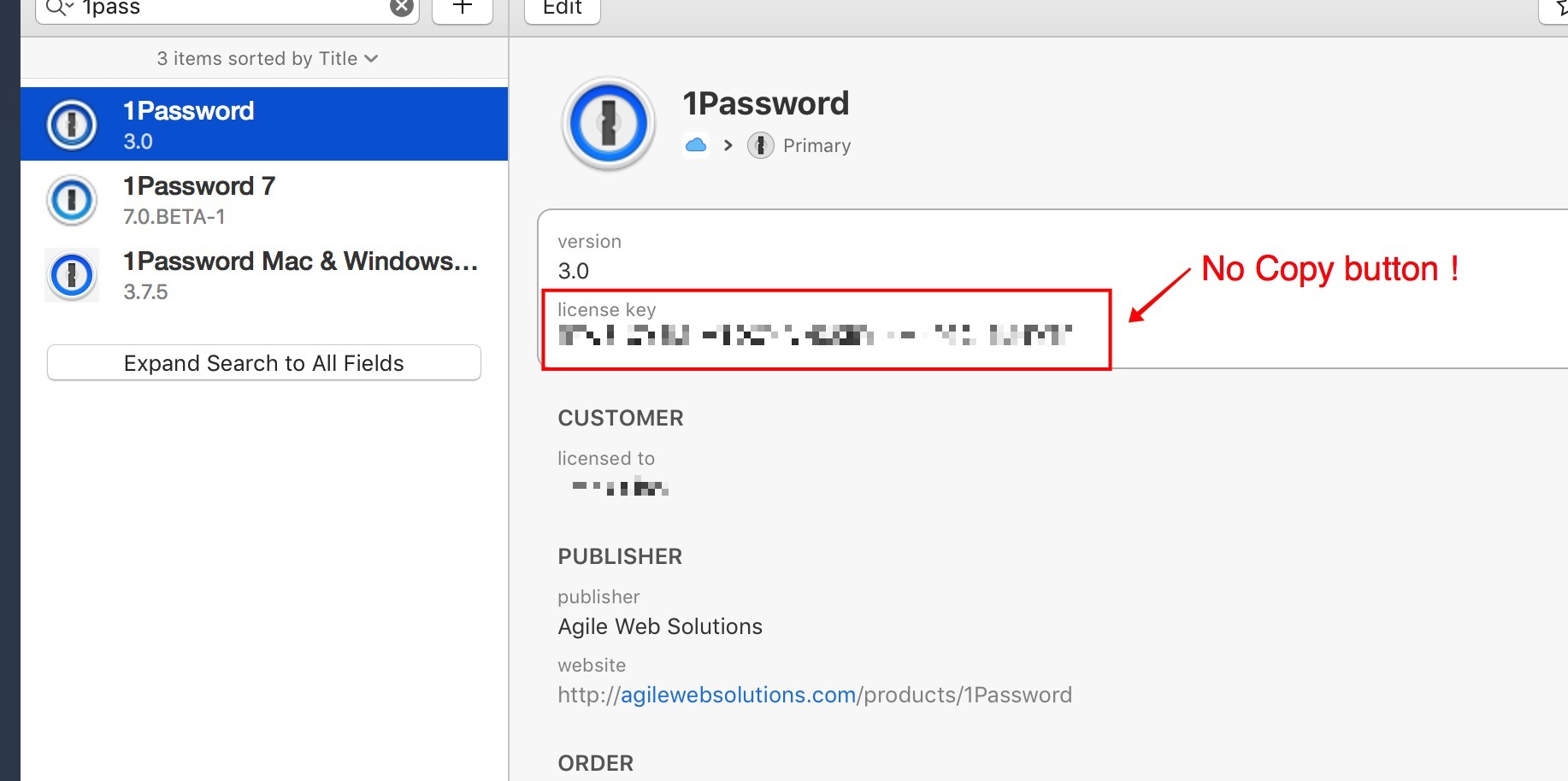 Can't copy license Key from 1Password 7b1 (previously working in V6
