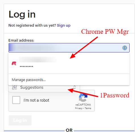 meetups.com login with Chrome PW manager on top of 1Password dialog