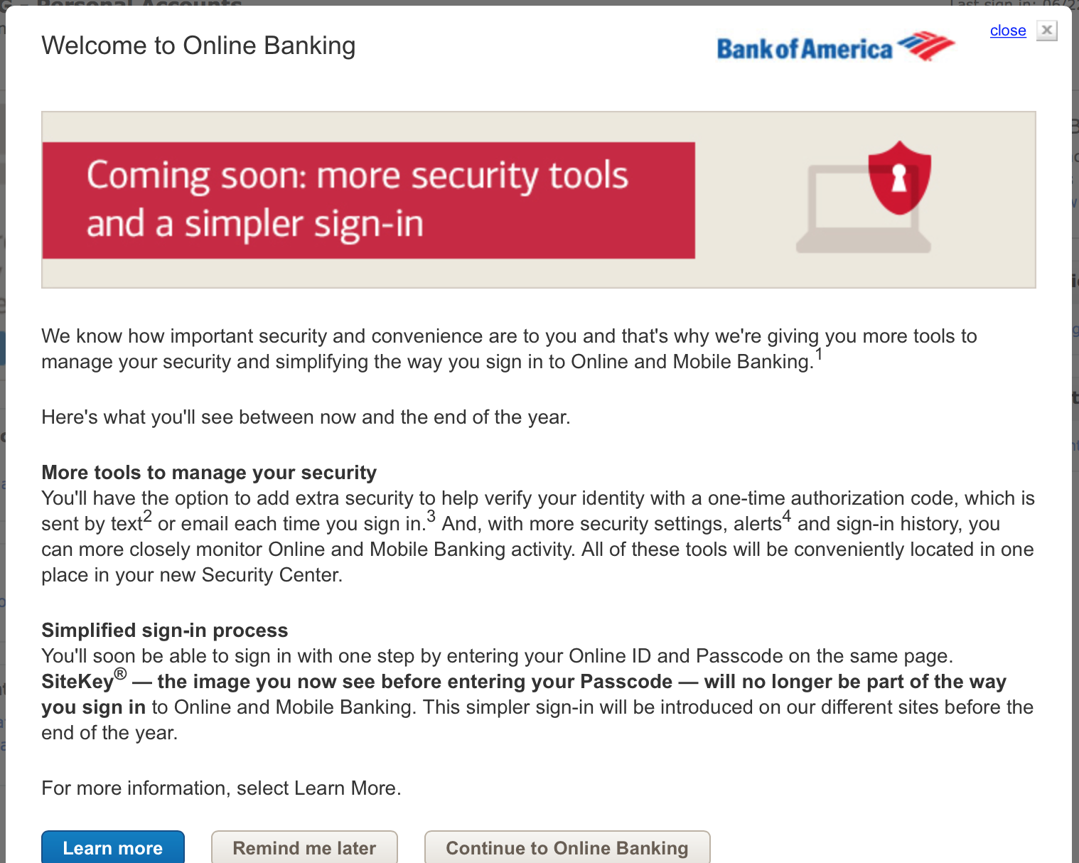 On Bank of America online banking, user name works but on next page Bank Of America Sign In on