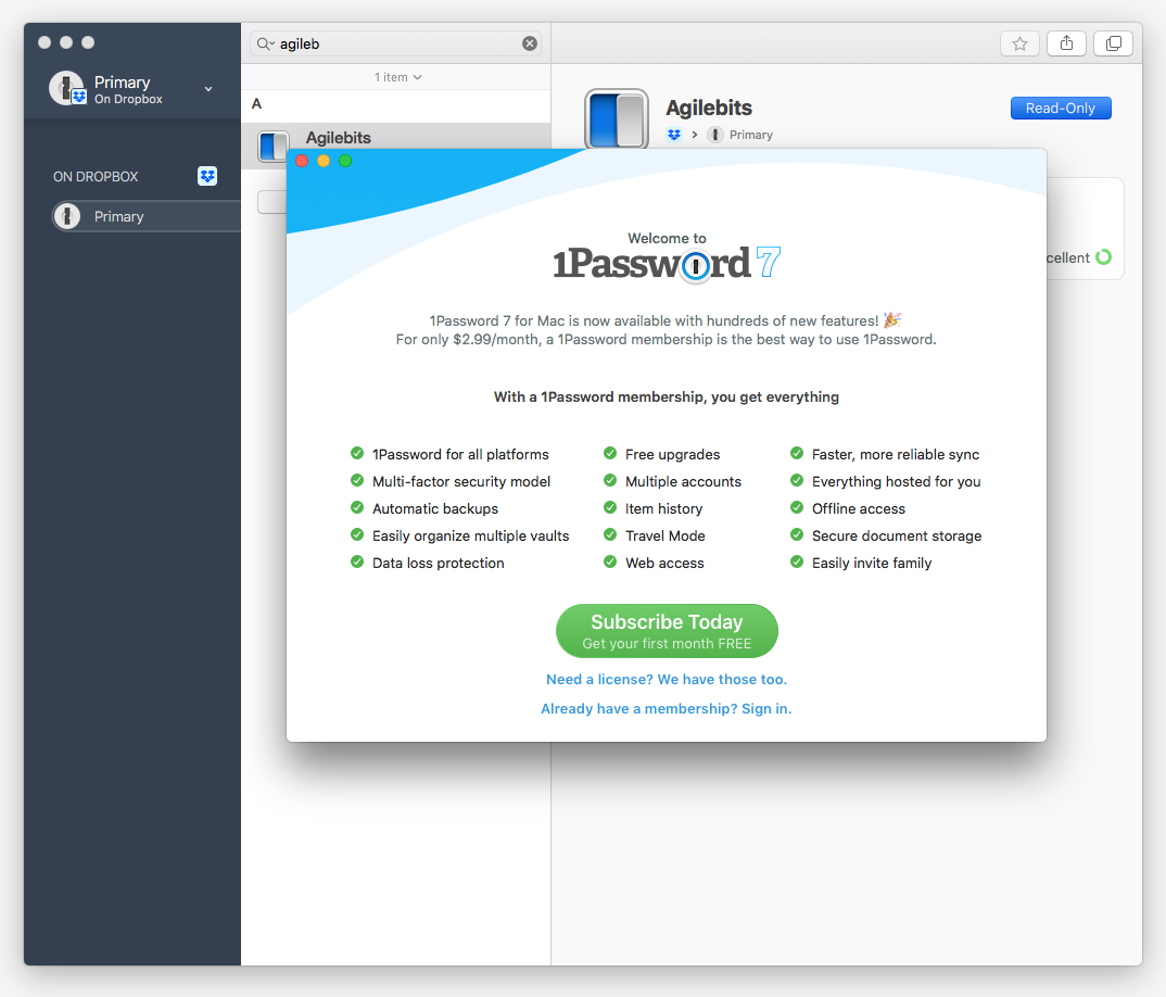 1Password 7 from the Mac App store in Read Only mode despite