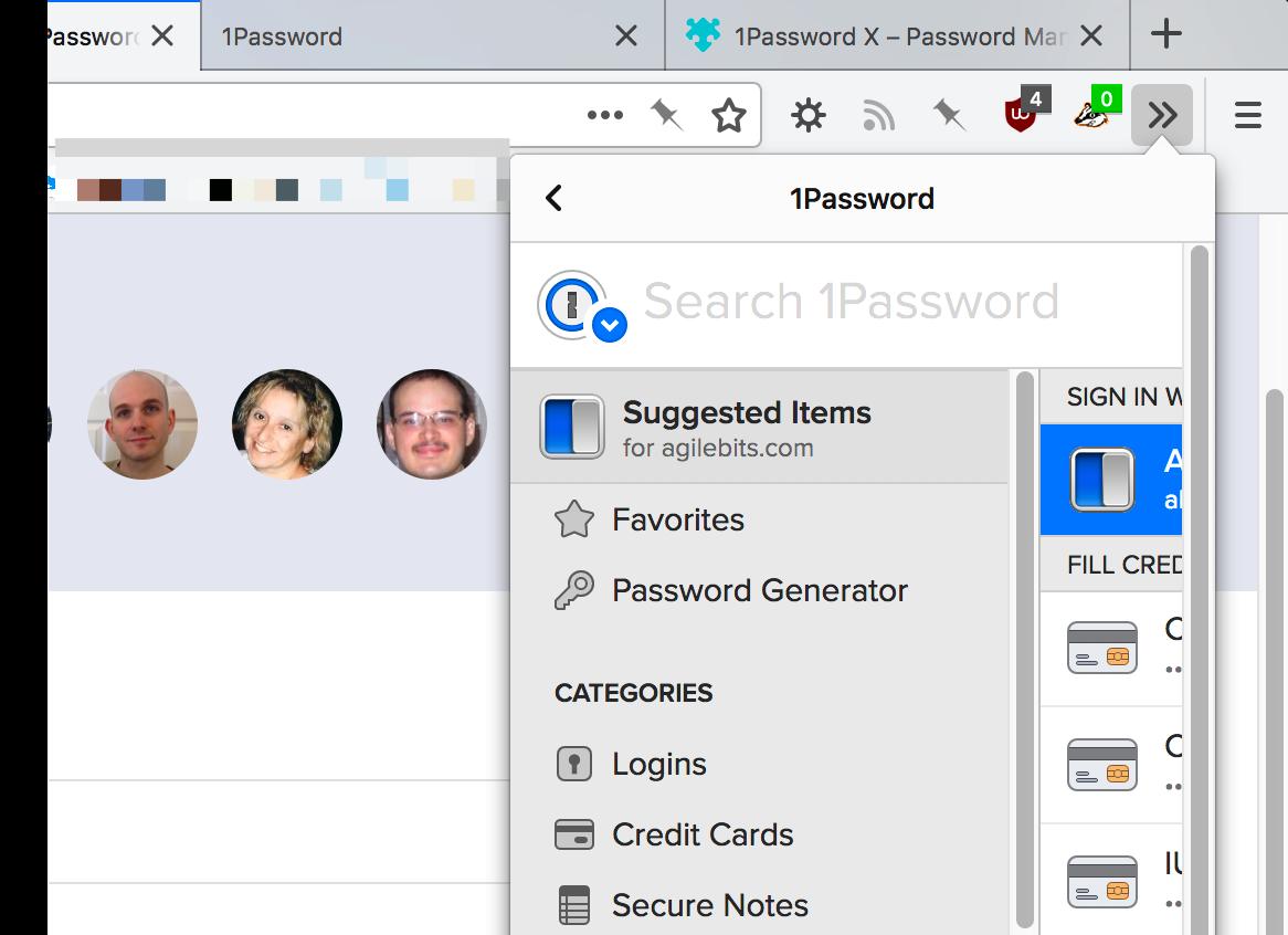 1Password X too narrow in the Firefox 60 toolbar overflow menu