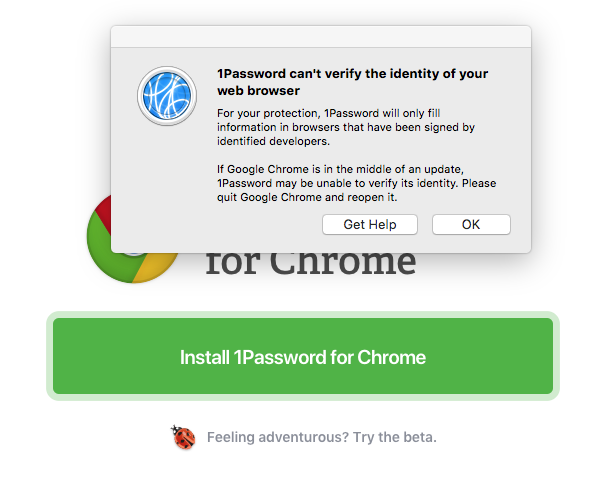 Can't seem to install extension for 1Password 7 in Chrome