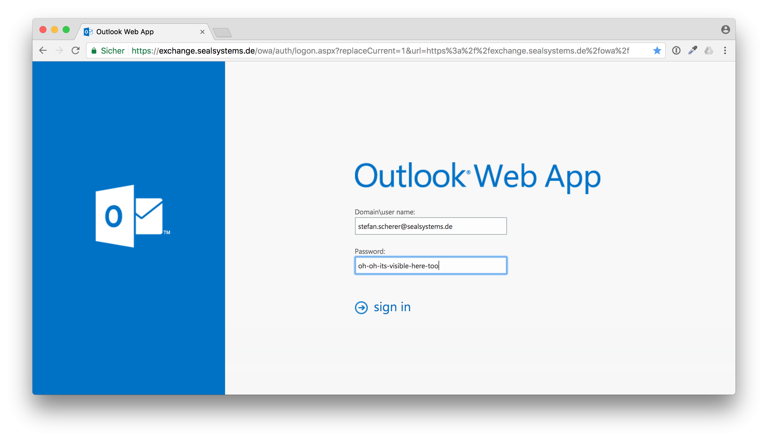 Password is visible filling into Outlook Web App — 1Password