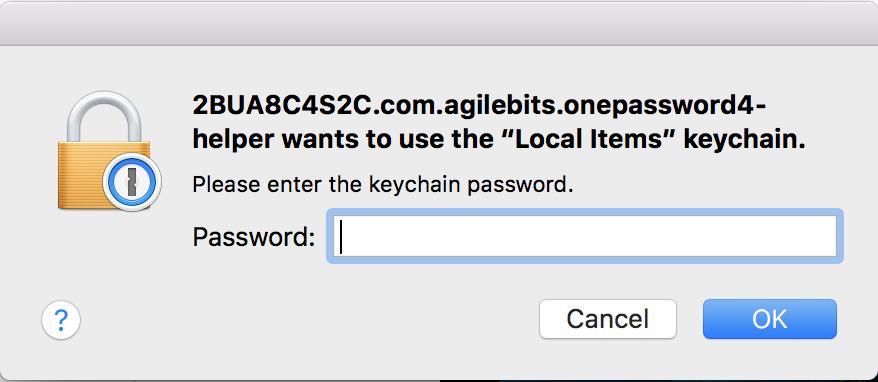 Keychain dialog