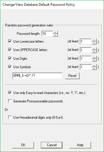 Restrictions in the password generator: why a specific number of