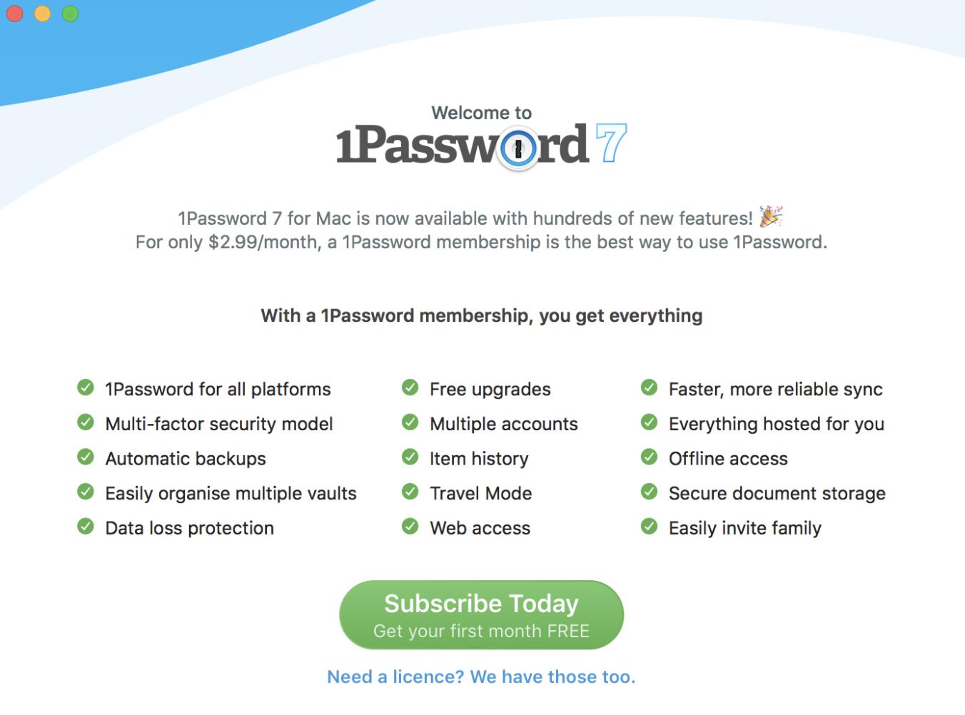 1password standalone family license