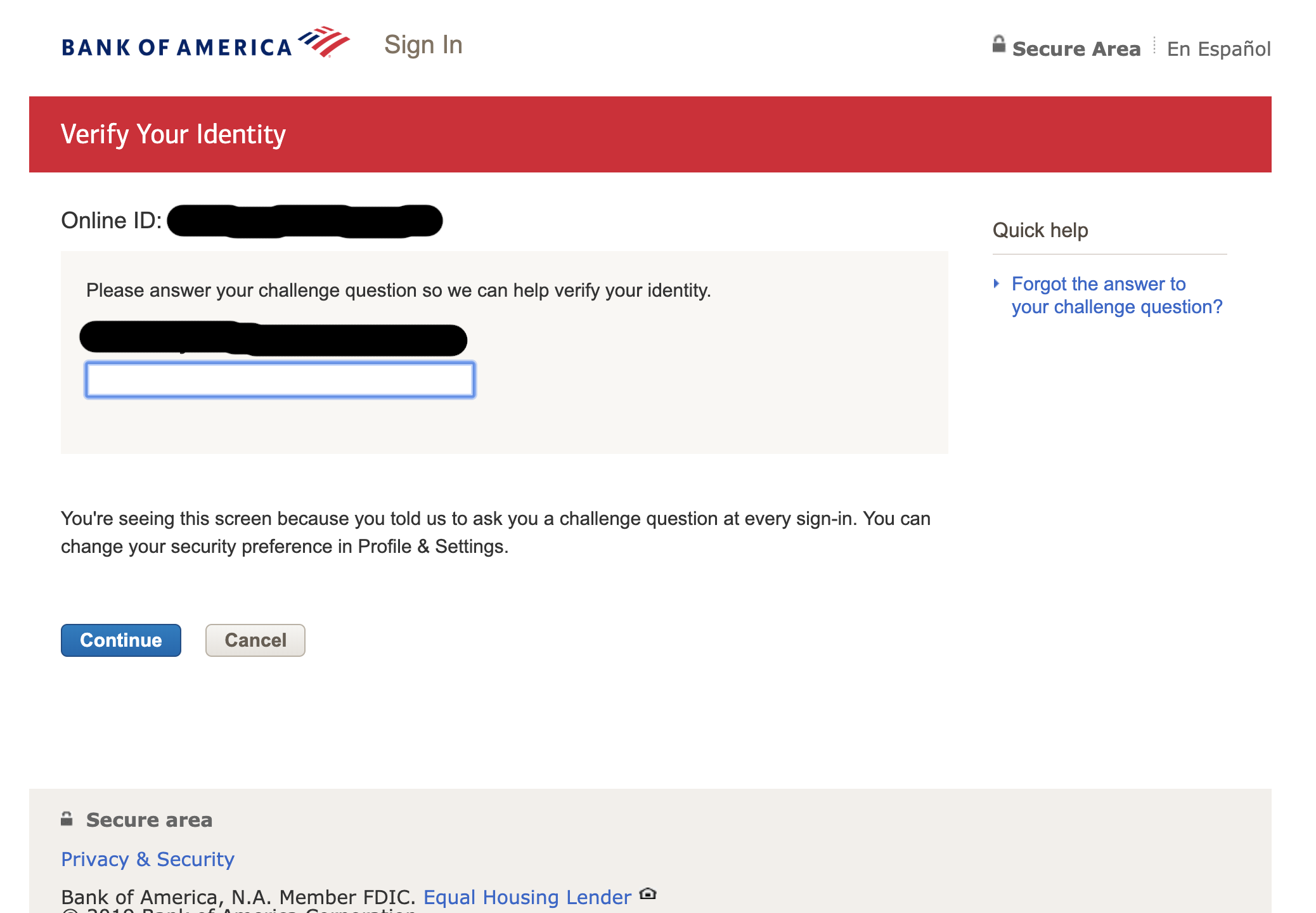 1Password doesn't fill in the Bank of America login
