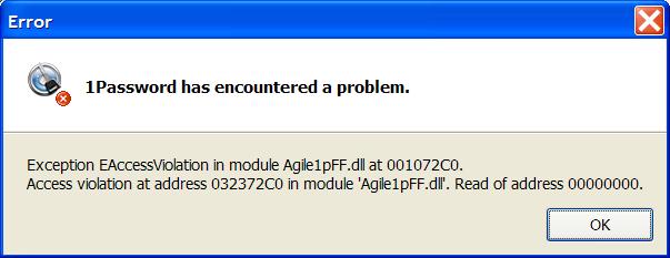 Access Violation with Firefox plugin — 1Password Forum