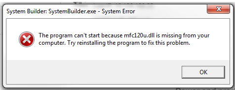 SystemBuilder exe - Error: The program can't start because