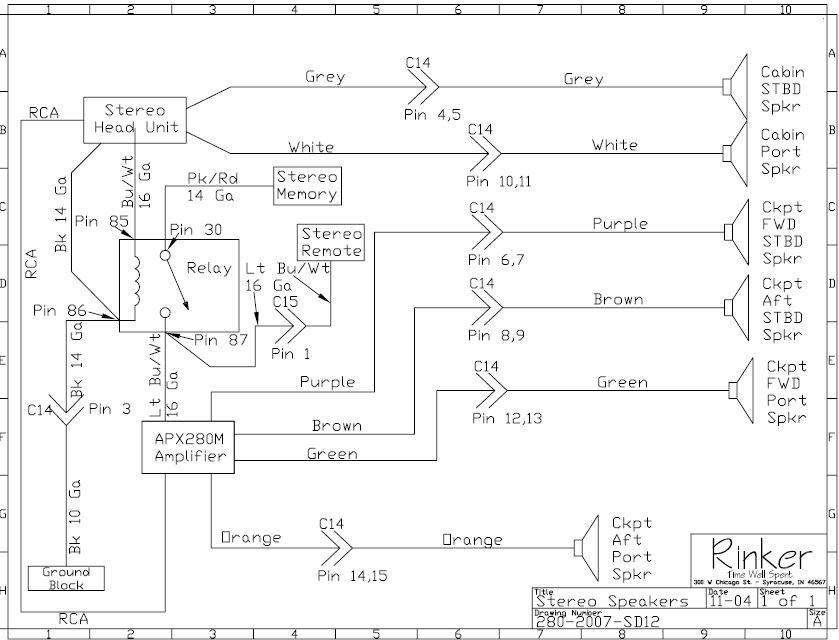 stereo relay and rear amp \u2014 rinker boat company Boat Console Wiring Diagram
