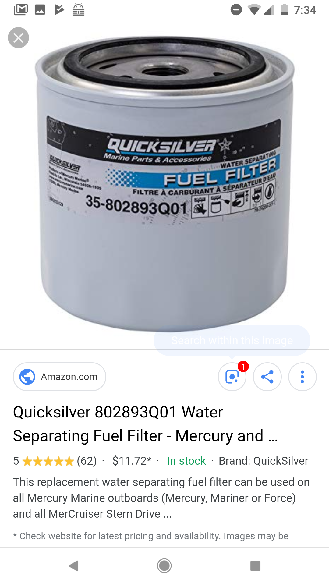 Fuel water separator — Rinker Boat Company