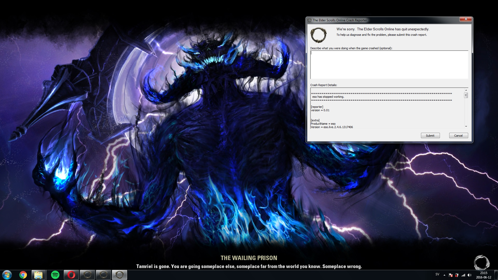 Crashing during character loading screen — Elder Scrolls Online