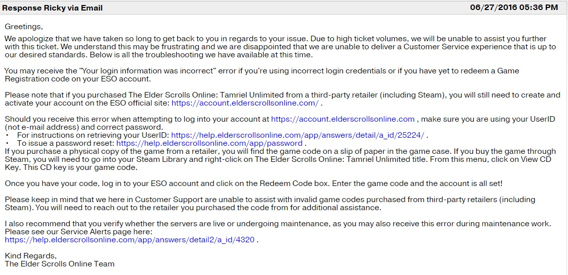 eso how to submit a support ticket