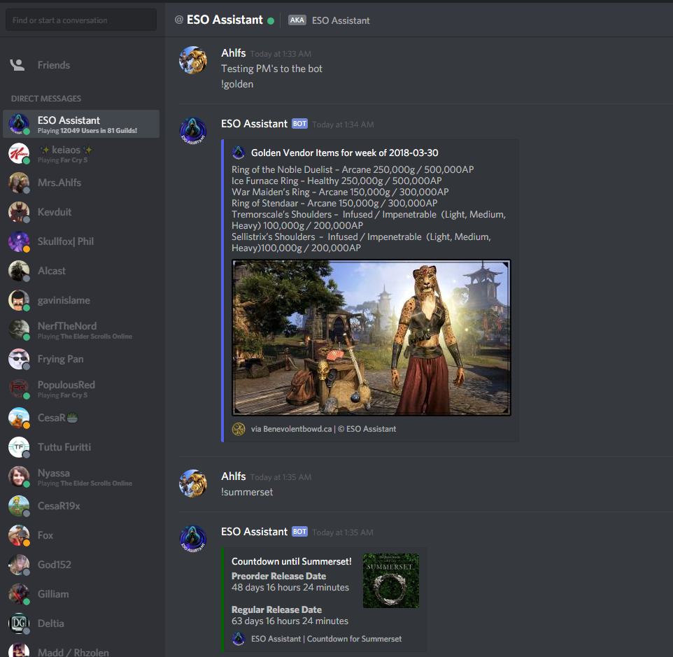 ESO Assistant - Discord Bot - Page 2 — Elder Scrolls Online