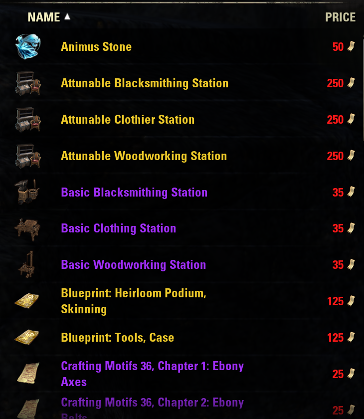 Eso Crafting Motifs Prices