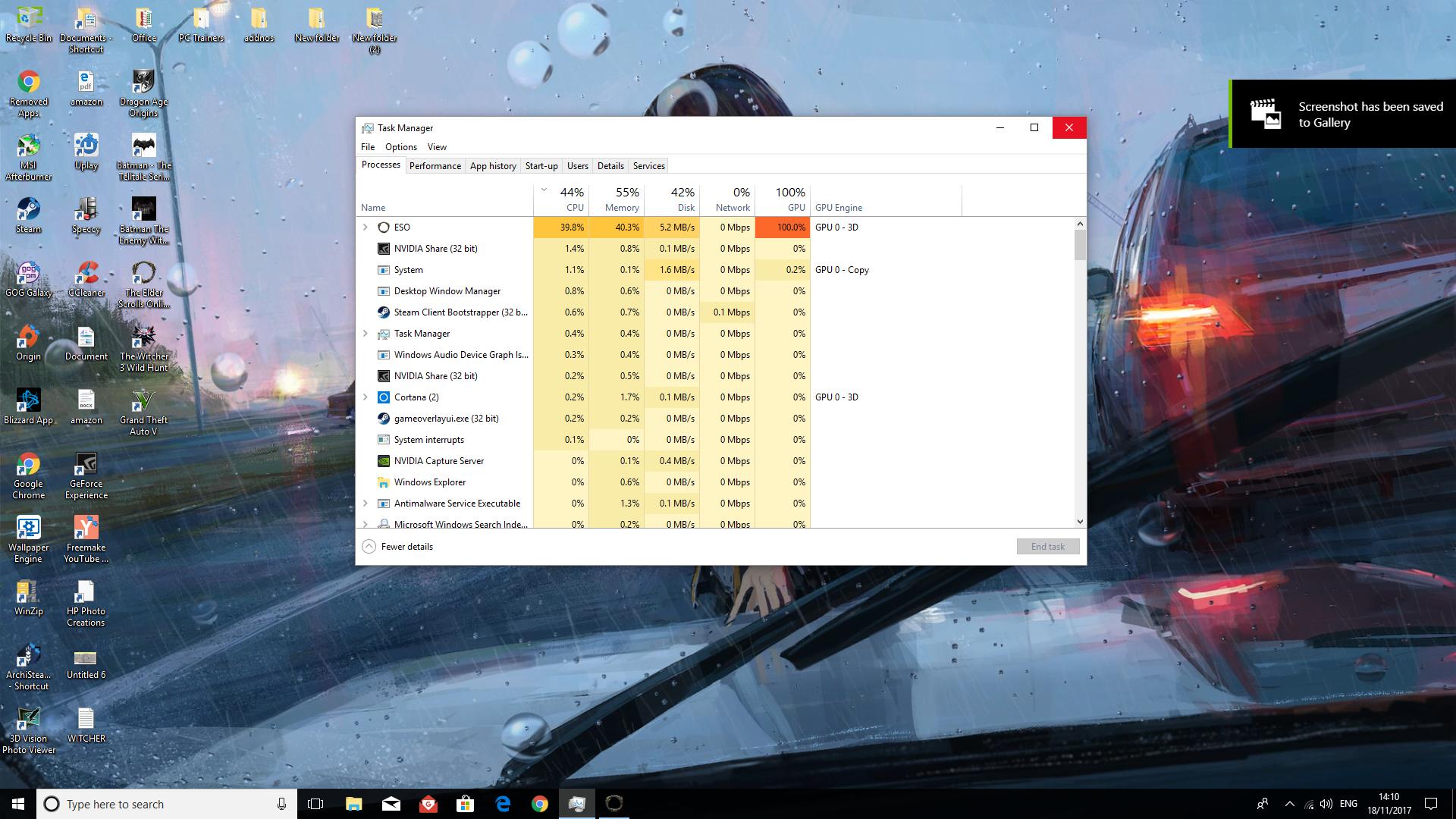 eso hit 100% CPU \ GPU!! — Elder Scrolls Online