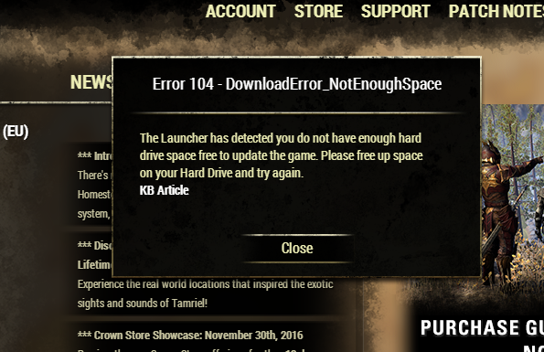 50GB free disc space and i can't update the game — Elder