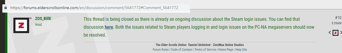 Steam users will be stuck until ? — Elder Scrolls Online