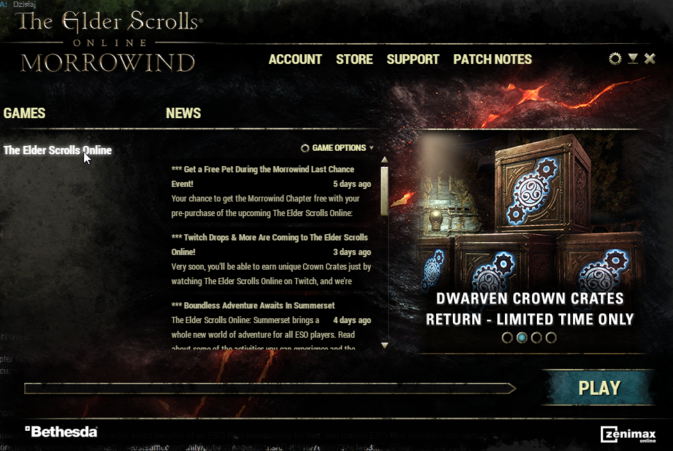 Steam launcher runs as Bethesda launcher — Elder Scrolls Online