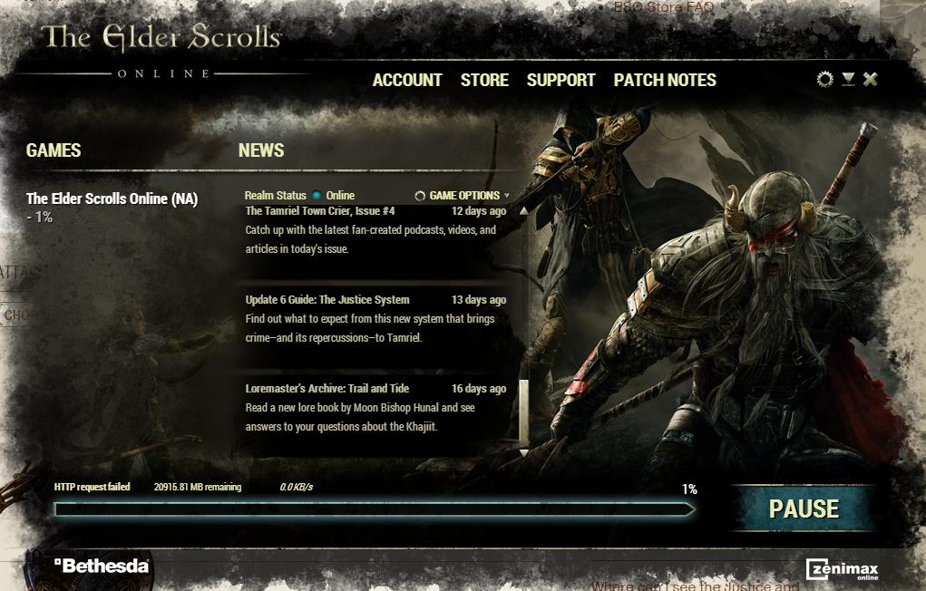 Http Request Failed — Elder Scrolls Online