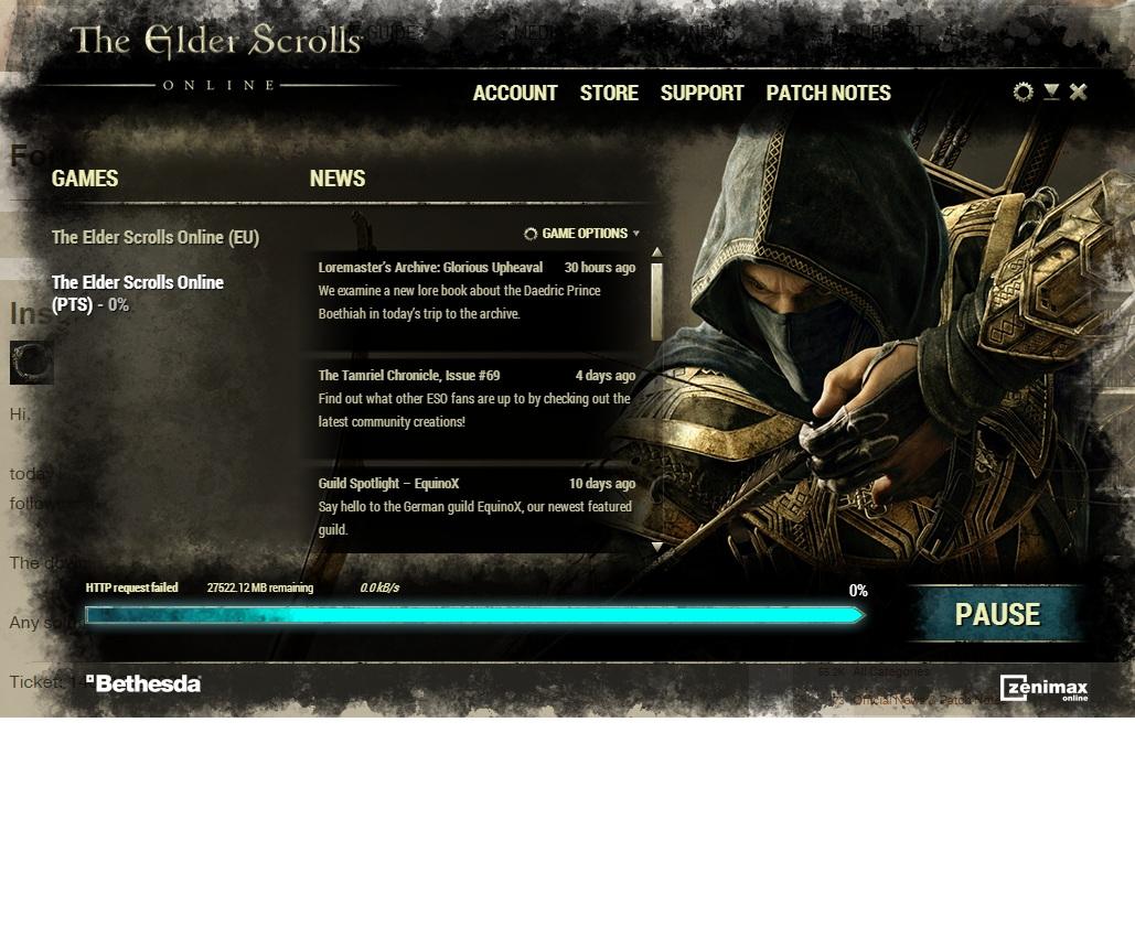 Install PTS: HTTP request failed — Elder Scrolls Online