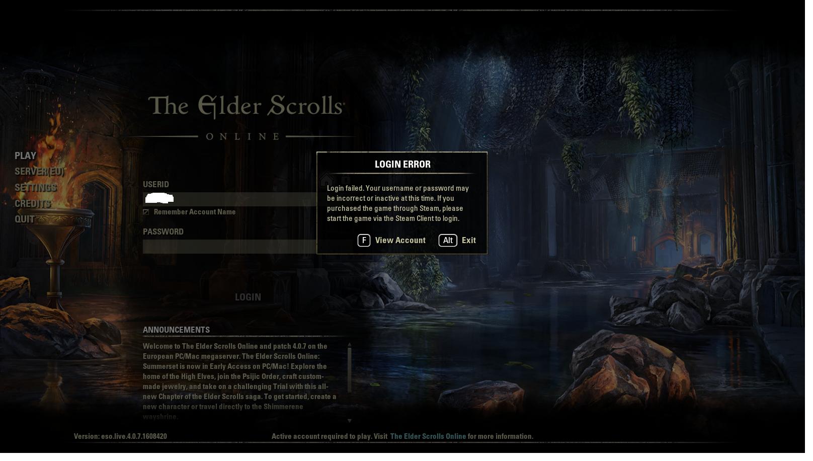 elder scrolls online game client