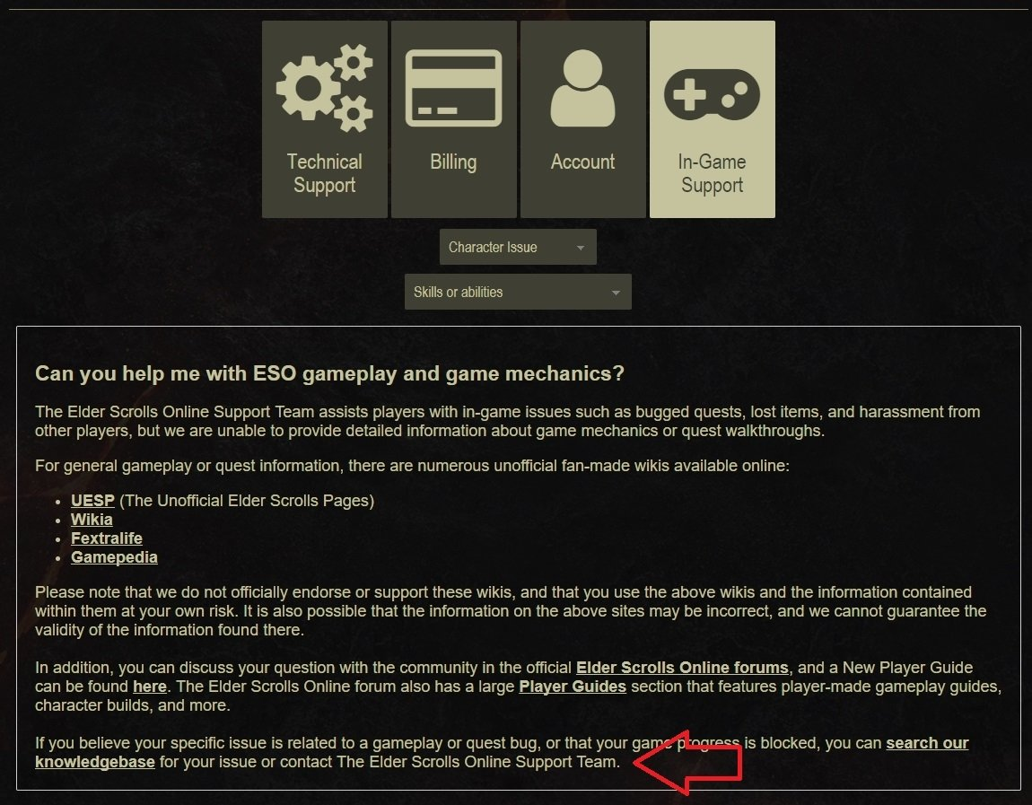 How to: Customer Service Ticket — Elder Scrolls Online