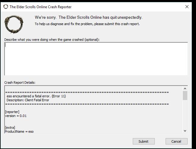 ESO crash on startup every time — Elder Scrolls Online