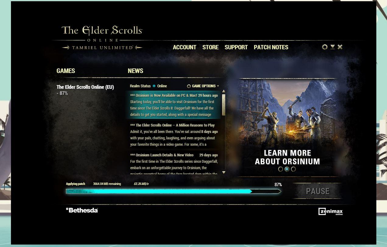 My launcher gets stuck while applying the patch — Elder Scrolls Online