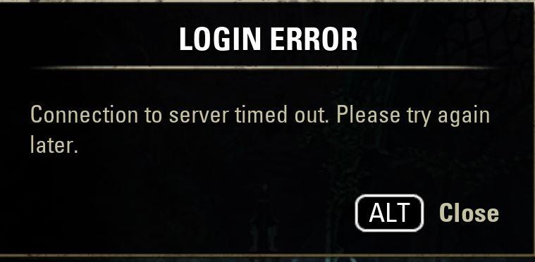 Login error / connection to server timed out — Elder Scrolls