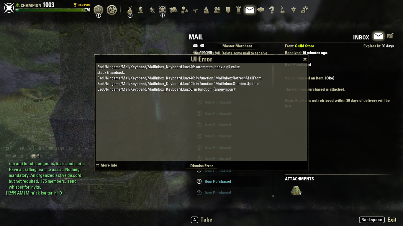 ESO Game Client Mail - UI Error 'attempt to index a nil