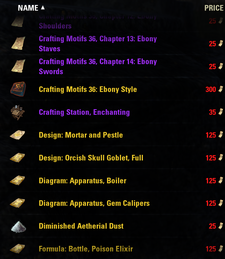 master writ prices on pts \u2014 elder scrolls online  master writ store 3 png