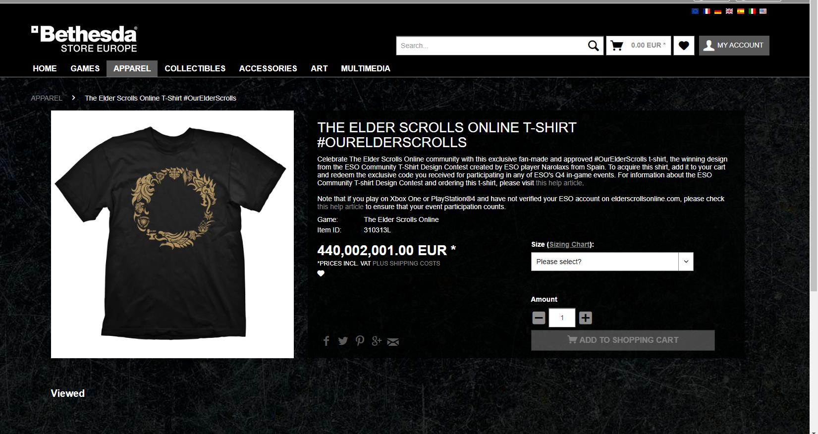 Can anyone afford this T-shirt? — Elder Scrolls Online