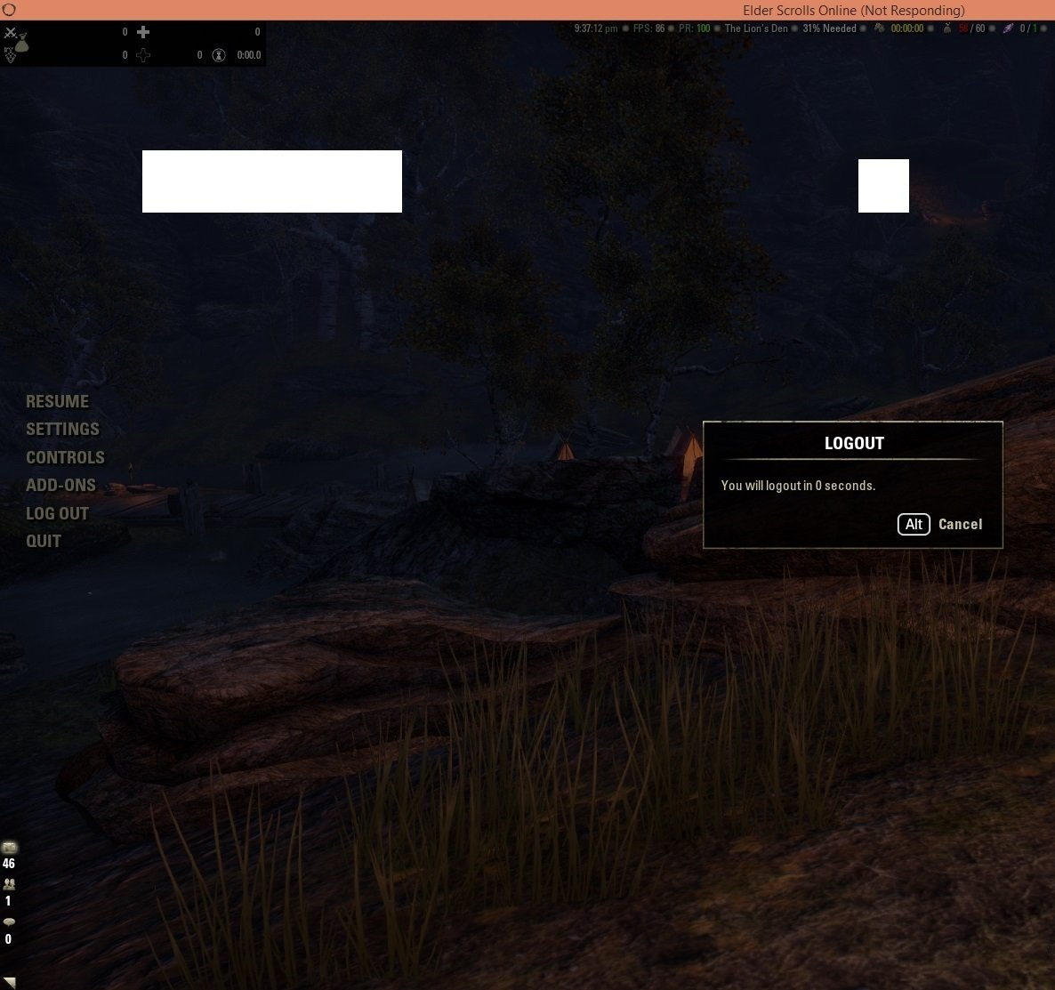 Logging out/Exiting - crashes — Elder Scrolls Online