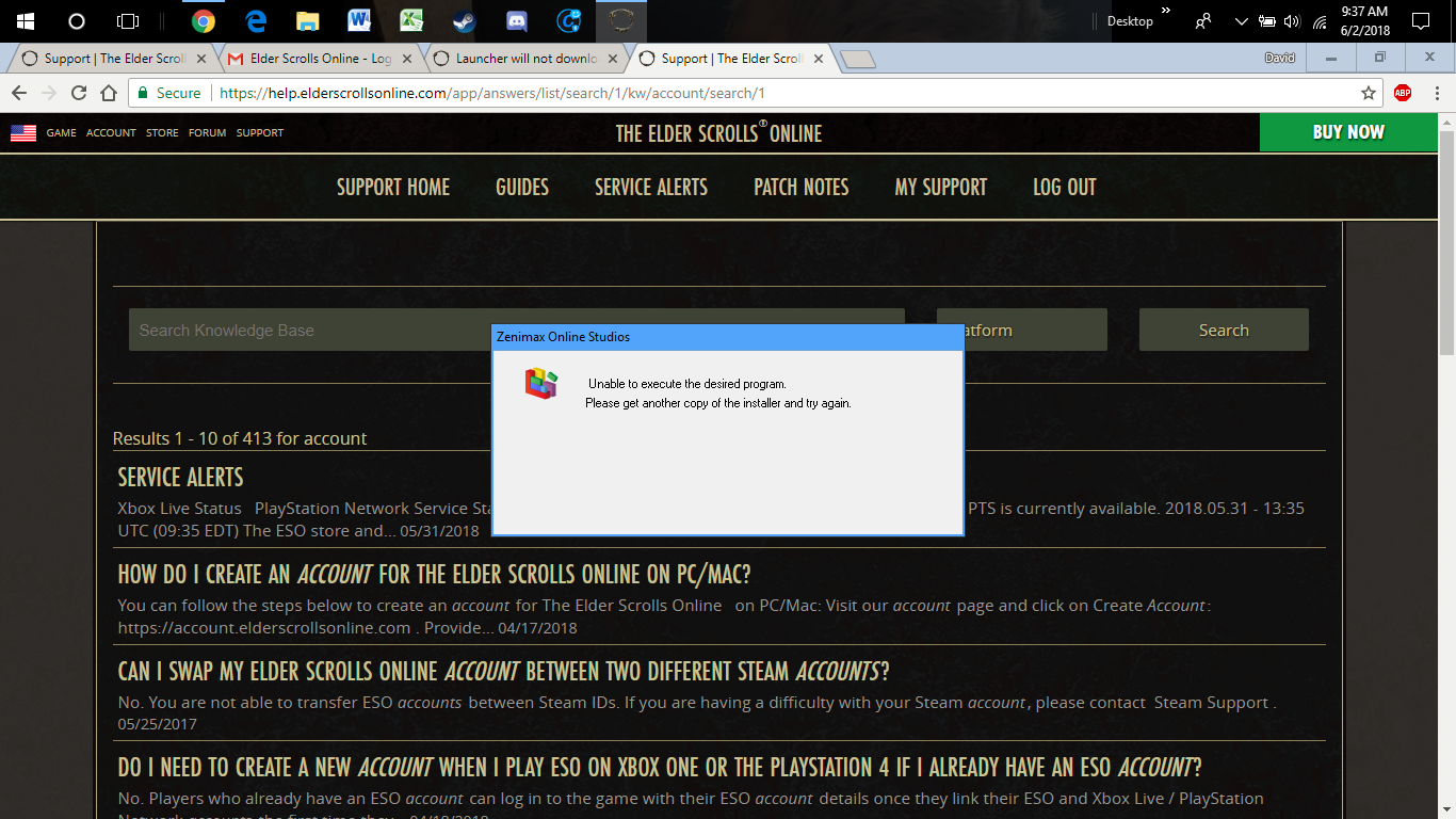 Launcher will not download the game — Elder Scrolls Online