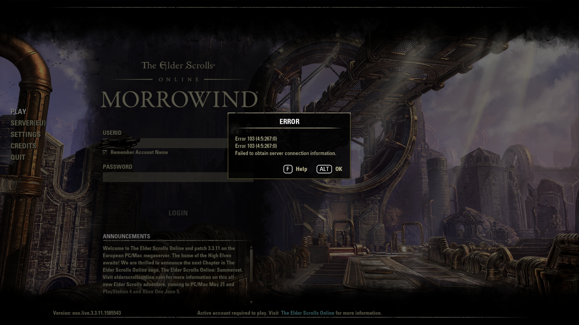Can't log in after patch — Elder Scrolls Online