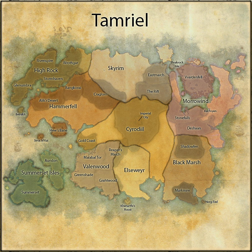 Colour coded World Map — Elder Scrolls Online