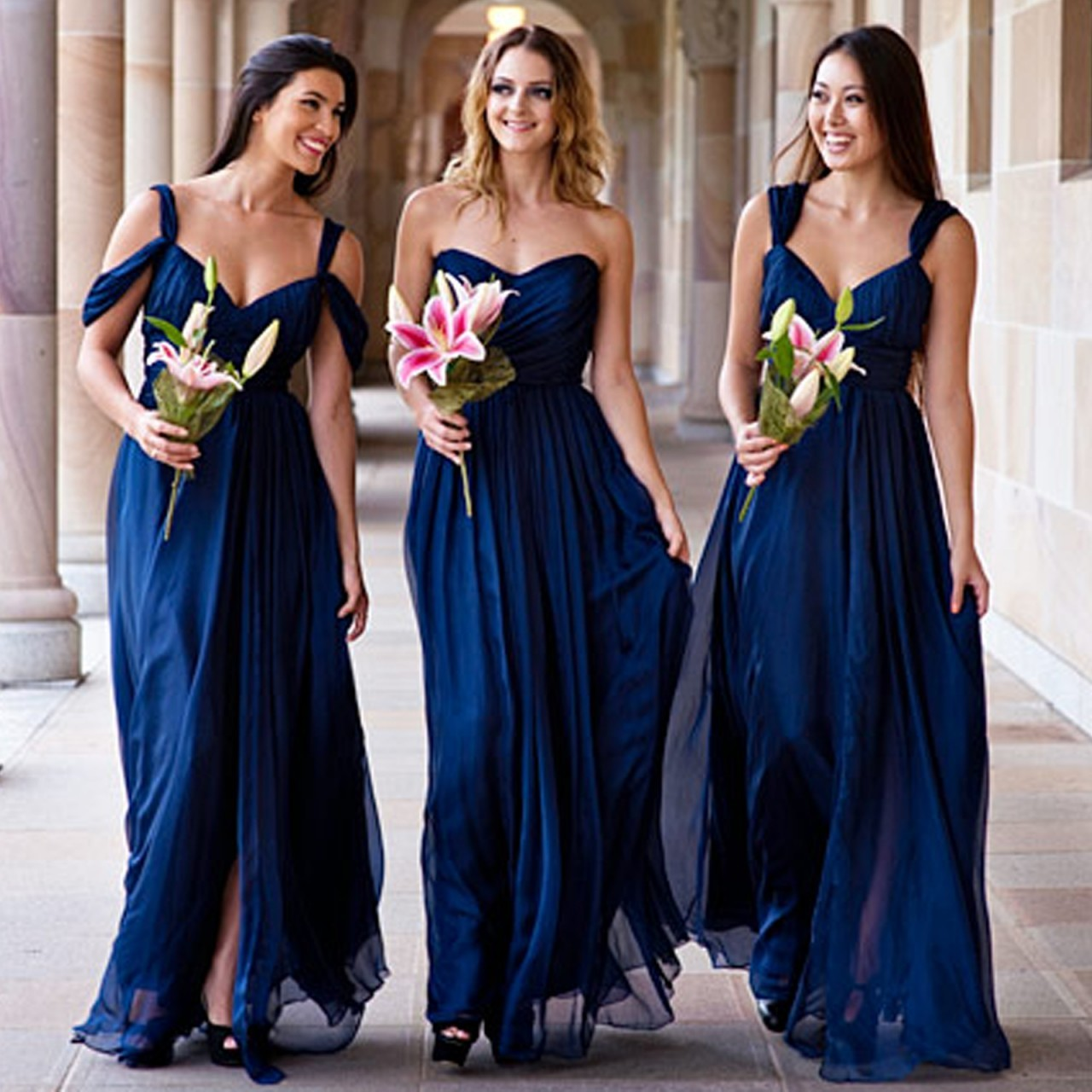 Blush bridal gown now what do the bridesmaids wear the knot navy bridesmaid dressesg 237k ombrellifo Image collections