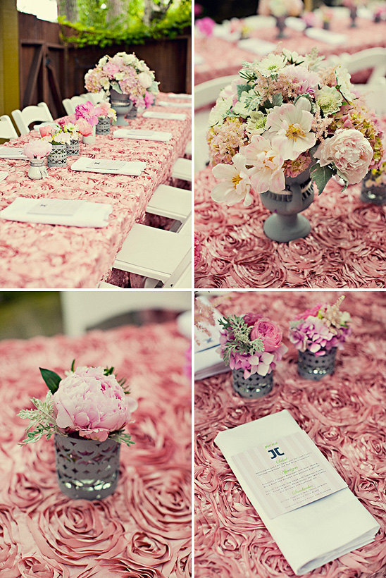 Elegant Rosette Table Overlays For Sale Dusty Rose